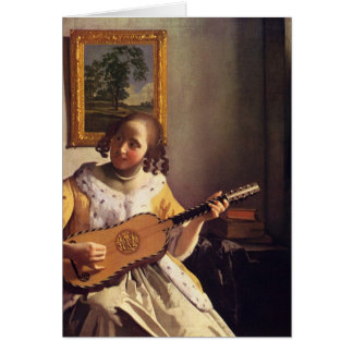 The guitar player by Johannes Vermeer Card