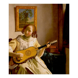 The Guitar Player by Vermeer Poster