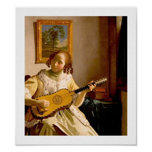 The Guitar Player by Vermeer - Vintage Art Poster
