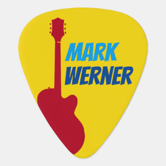the guitarist name on yellow plectrum