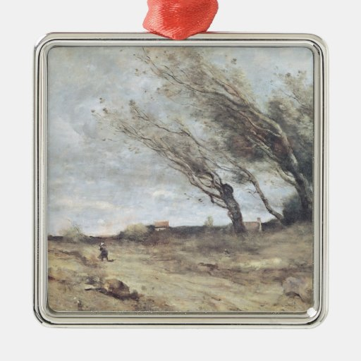 The Gust of Wind, c.1865-70 Silver-Colored Square Decoration