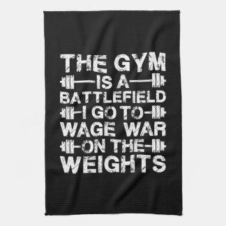 The Gym Is A Battlefield - Workout Motivational Kitchen Towel
