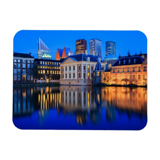 The Hague skyline at blue hour rectangular magnet