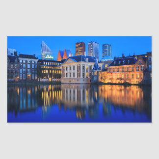 The Hague skyline at blue hour rectangular sticker