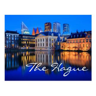 The Hague skyline at blue hour text postcard