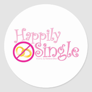 The Happily Single Collection by MDillon Designs Classic Round Sticker