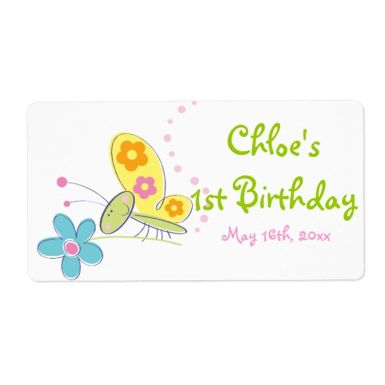 The Happy Butterfly Birthday Water Bottle Label