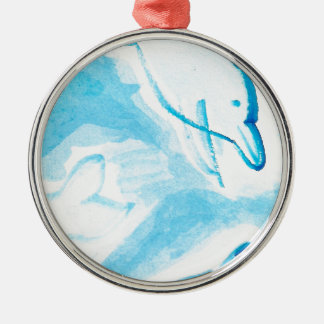 The Happy Dolphins blue fun drawing by FabSpark Christmas Ornament