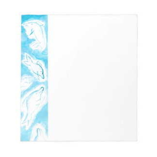 The Happy Dolphins blue fun drawing by FabSpark Notepad