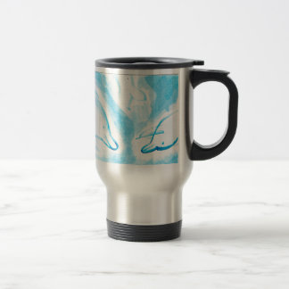 The Happy Dolphins blue fun drawing by FabSpark Travel Mug