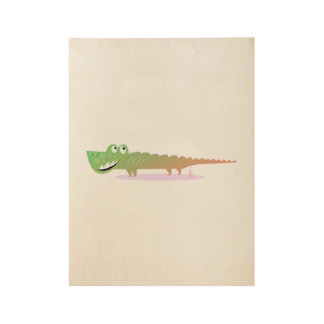 The happy green Croc : wooden Poster