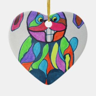 The Happy Hare Ceramic Heart Decoration