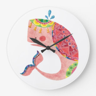 The Happy Pink Whale Large Clock