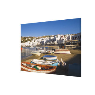 The harbor town with colorful fishing boats canvas print