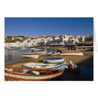 The harbor town with colorful fishing boats card