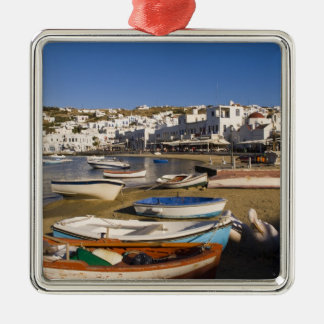 The harbor town with colorful fishing boats christmas ornament