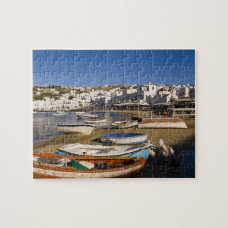 The harbor town with colorful fishing boats puzzle