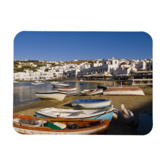 The harbor town with colorful fishing boats rectangular photo magnet