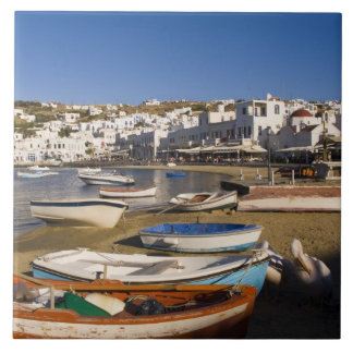 The harbor town with colorful fishing boats tile