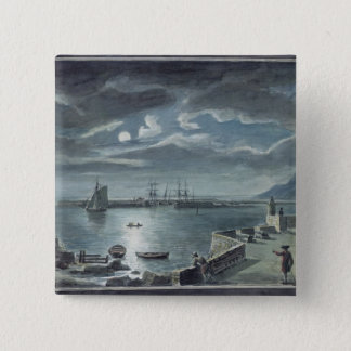 The Harbour and the Cobb, Lyme Regis by Moonlight 15 Cm Square Badge