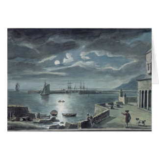 The Harbour and the Cobb, Lyme Regis by Moonlight Greeting Card