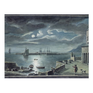 The Harbour and the Cobb, Lyme Regis by Moonlight Postcard