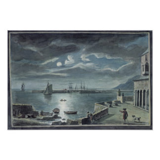 The Harbour and the Cobb, Lyme Regis by Moonlight Poster