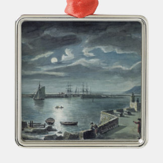 The Harbour and the Cobb, Lyme Regis by Moonlight Silver-Colored Square Decoration