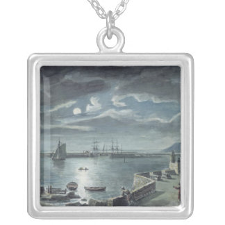 The Harbour and the Cobb, Lyme Regis by Moonlight Silver Plated Necklace