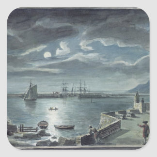The Harbour and the Cobb, Lyme Regis by Moonlight Square Sticker