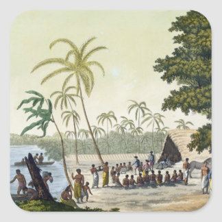 The Harbour at Anamooka, plate 82 from 'Le Costume Square Sticker