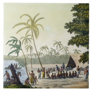 The Harbour at Anamooka, plate 82 from 'Le Costume Tile
