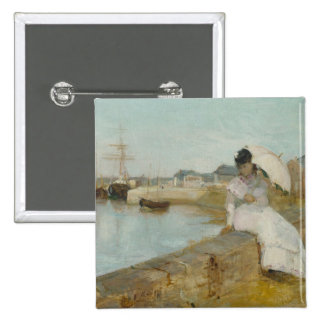 The Harbour at Lorient, 1869 (oil on canvas) 15 Cm Square Badge