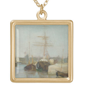 The Harbour at Lorient, 1869 (oil on canvas) Gold Plated Necklace