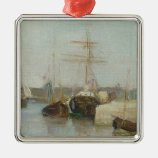 The Harbour at Lorient, 1869 (oil on canvas) Silver-Colored Square Decoration