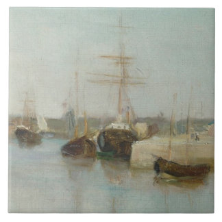 The Harbour at Lorient, 1869 (oil on canvas) Tile