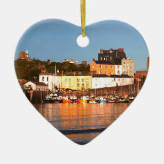 The Harbour At Tenby, South Wales Ceramic Heart Decoration