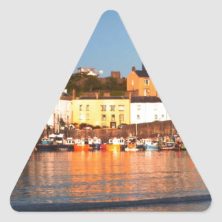 The Harbour At Tenby, South Wales Triangle Sticker