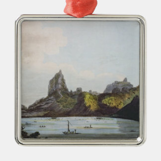 The Harbour of Taloo in the Island of Eimeo Silver-Colored Square Decoration