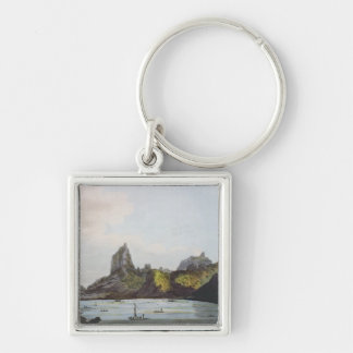 The Harbour of Taloo in the Island of Eimeo Silver-Colored Square Key Ring