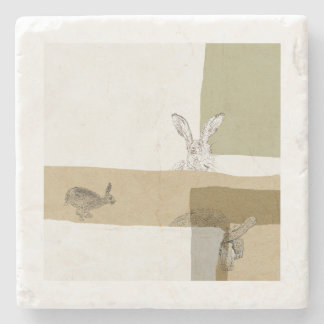 The Hare and the Tortoise An Aesop's Fable Stone Coaster