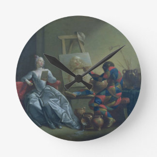 The Harlequin Painter, c.1742 (oil on canvas) Round Clock