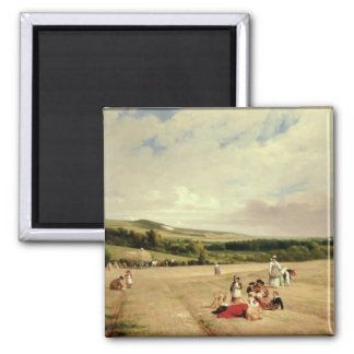 The Harvest Field (oil on canvas) Square Magnet