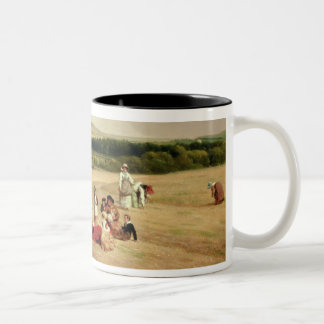 The Harvest Field (oil on canvas) Two-Tone Coffee Mug