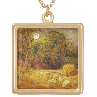 The Harvest Moon, 1833 (oil on paper laid on panel Square Pendant Necklace