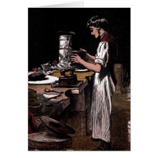 """The Hatmaker"" Vintage Illustration Greeting Card"