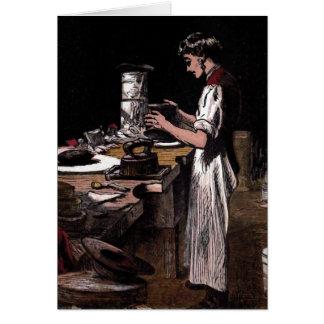 """""""The Hatmaker"""" Vintage Illustration Greeting Card"""