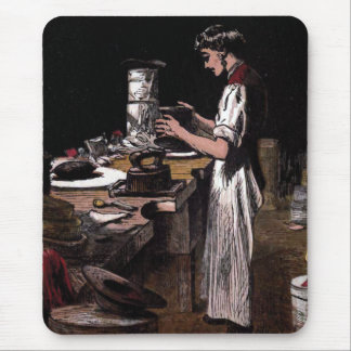 """The Hatmaker"" Vintage Illustration Mouse Pad"