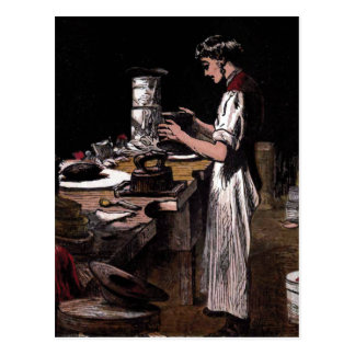 """The Hatmaker"" Vintage Illustration Postcard"