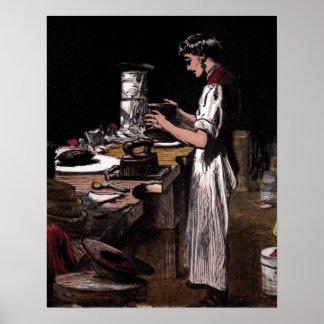 """""""The Hatmaker"""" Vintage Illustration Poster"""